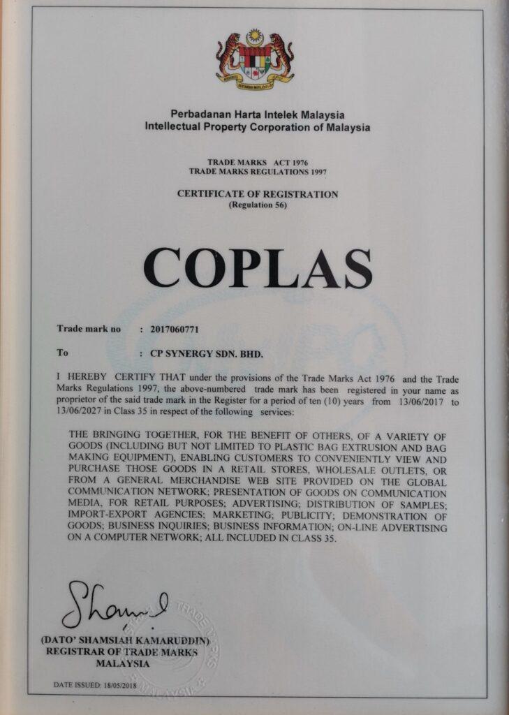 COPLAS Trademark 1